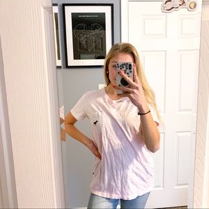 oversized VS PINK pink short sleeve campus tee